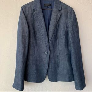 Talbots Blue Linen Blazer Jacket